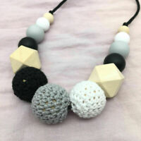 Baby Wooden Crochet Beads Teething DIY Silicone Sensory Jewelry Teether Necklace