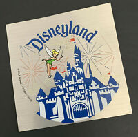 Disney Unused Silver Sticker Disneyland Castle and Tinker Bell circa early 1980s