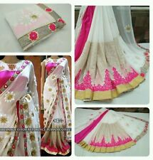 Bollywood Flower Designer Indian Georgette Partywear Sari Embroidered Saree Bous