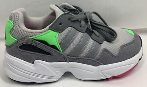 adidas Yung-96 Shoes DB2802 Youth Grey Green Pink  (Girls Sz 6) Boys Sz 4.5