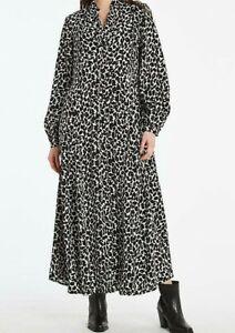 JD WILLIAMS LADIES MONO PRINT MAXI SHIRT DRESS BLACK NEW (ref 714R)