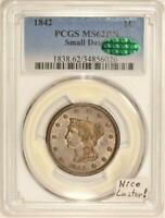 1842 Small Date Braided Hair Large Cent PCGS & CAC MS-62 BN; Nice Luster!