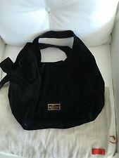 EUC AUTH Valentino Nuage Bow Double Strap Tote Hobo Black Suede Leather Handbag