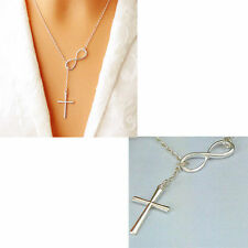 """Vintage Fashion Women Infinity Silver Plated Charm Cross """"8"""" Pendant Necklace"""