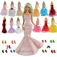 15 items = 5 Pcs Evening Dress Clothes Gown Outfit with 10 Shoes for Barbie Doll
