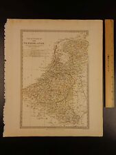 1844 Beautiful Huge Color Map of Netherlands Flanders North Sea Atlas