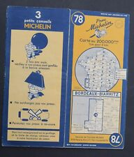 Carte MICHELIN old map n°78 BORDEAUX BIARRITZ 1950 Guide Bibendum pneu tyre