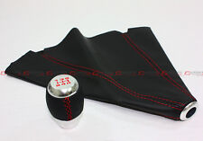 M10 X 1.5 CHROME 5 SPEED SHIFT KNOB RED STITCHING + BLK LEATHER BOOT FOR HONDA