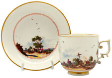 Meissen chocolate cup & saucer with country scenes, C. 1735