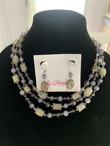 Premier Designs Layered Pink Faux Crystal & Stone Necklace / Earrings New!