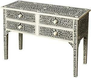 CONSOLE TABLE HERITAGE WHITE BLACK DISTRESSED BRASS CREAM PINE GRAY WOOD BO