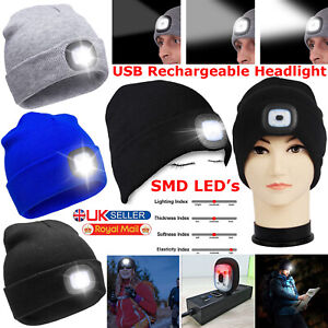 HAT LED USB BEANIE RECHARGEABLE LIGHT HEAD UNISEX LAMP HIGH POWERED TORCH CAP
