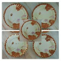 """6 Vintage Japanese Hand Painted  7-1/4"""" Plates Signed"""