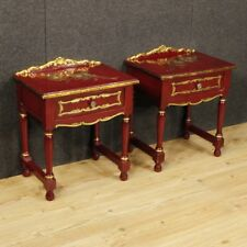Paire tables basse chevet bois laqué meuble doré style ancien 900 XX antiquité