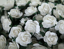 """100! Large Handmade Mulberry Paper Roses - 20MM/0.75"""" - Beautiful White Rose!"""