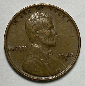 1942 D Lincoln - Wheat Ears Reverse 1 Cent  WWII Era Circulated Coin  (2965)