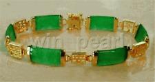 "Natural Emerald Green Jade 18KGP Fortune Longevity Luck Link Bracelet 7.5"""