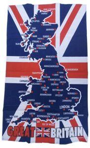 London Union Jack National Map Tea Towel Wall Hanging 100% Cotton Souvenir Gift