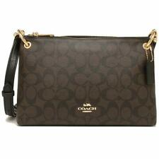 NWT COACH Mia Shoulder Bag Crossbody Classic Signature Canvas Brown Black F76646