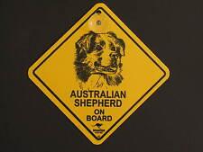 Australian Shepherd On Board Dog Breed Yellow Car Swing Sign Gift