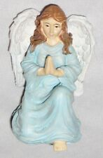 "Blue White 3"" Knealing Praying Angel Figurine Ornament"