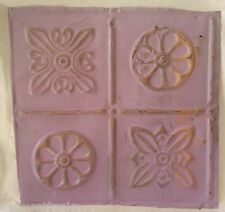 "Reclaimed 1890's metal 12"" x 12"" Antique Tin Ceiling Tile Lilac Aa5"