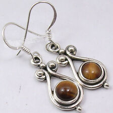 925 Sterling Silver CABOCHON BROWN TIGER'S EYE GEMSTONE Dangle Earrings 1.4""