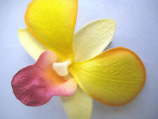 Hawaii Bridal Wedding Party Orchid Flower Hair Clip ~ YELLOW PURPLE (QTY 2)