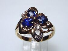 Genuine Sapphire Solid 14-kt Gold Ring, Outstanding Design (#1978)