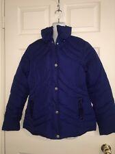 💐 Betsey  Johnson Dark Royal Blue Chevron Pretty Puffer Down Feather Jacket M💐