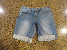 """Justice Girls youth 10 1/2 Shorts blue denim jeans rolled up cuff W 28"""" Simply"""