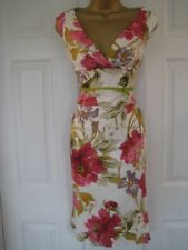 BNWT Sz 6 Karen Millen Cream Pink Floral Rose Garden Wiggle Fitted Dress