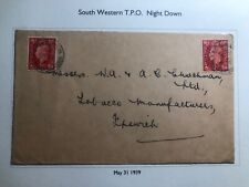 1939 South Western England Cover Traveling Post Office Night Down