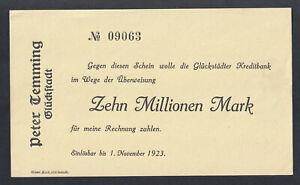 Glückstadt - Peter Temming - 10 Millionen Mark - blanco - bis 1.11.1923