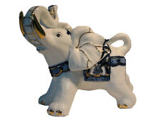 Porcelain Elephant Ornament - 19 x 25 x 12 cm Cobalt Blue on White