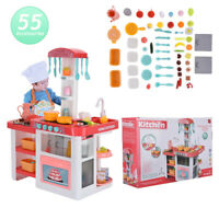 Pretend Cooking Playset Kids Kitchen Toys w Light Cookware Play Set Toddler US