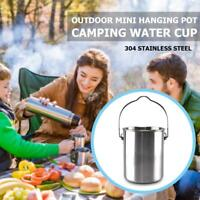 750ml Stainless Steel Outdoor Camping Hang Pot Water Cup Large Capacity with Lid