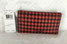 New Coach Red Houndstooth PVC Phone Case Men's Bifold Wallet 64061 MSRP $125