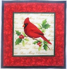 "Cardinal Christmas Fabric Block 11"" x 11.375"" Quilting Crafting Panel B"