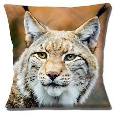 """Lynx Cat Grande Cabeza cerca Foto Impresión Multicolor 16"""" Almohada Cojín Cubierta"""