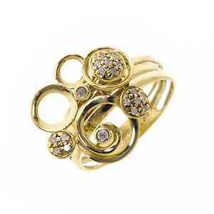 9ct Yellow Gold Circle Design Diamond Set Ring