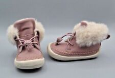 """NEW Clarks Doodles """"Cuba Evie INF"""" Girls Pink Warm Slippers / Shoes UK 8 F"""