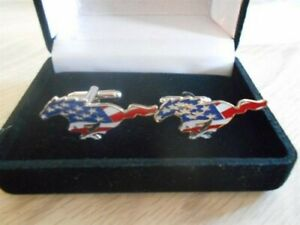 FORD MUSTANG USA AMERICAN FLAG LOGO NEW LICENSED GIFT BOXED CUFFLINKS - NEW