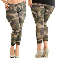 Plus Size Fashion Womens Camouflage Prints Elastic Leggings Trousers Sport Pants