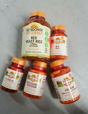 Lot of 5 Sundown Red Yeast Rice Vitamins B12 B complex Multi Potassium EXP 2022