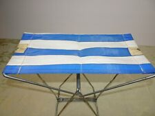 Vintage Blue & White Camp Folding Chair Stool Metal Nylon Ice fishing