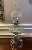 Vintage 1920's Glass Kerosene Oil Lamp P & A Mfg Co Thomaston Eagle Burner 18.5""