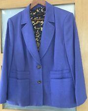 ESCADA Designer Violet Wool Mix Trouser Suit,  Size 46 (Damage to Trousers)
