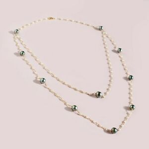 """Handmade!Tahitian Pearl&White Pearl Double layer Necklace Gold Filled Chain 25"""""""