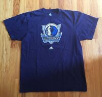 Adidas Dallas Mavericks Navy Blue Big Logo Mavs NBA T-Shirt Dirk Luka Size Large